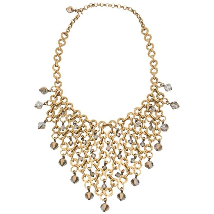 French Geometric Brass & Swarovski Faceted Crystal Necklace
