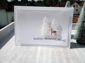 """Heute gibt´s wieder eine weihnachtliche Inspiration. Verwendet habe ich für mein Kärtchen die Thinlits """"Festtags-Design"""", weißen Farbkart..."""