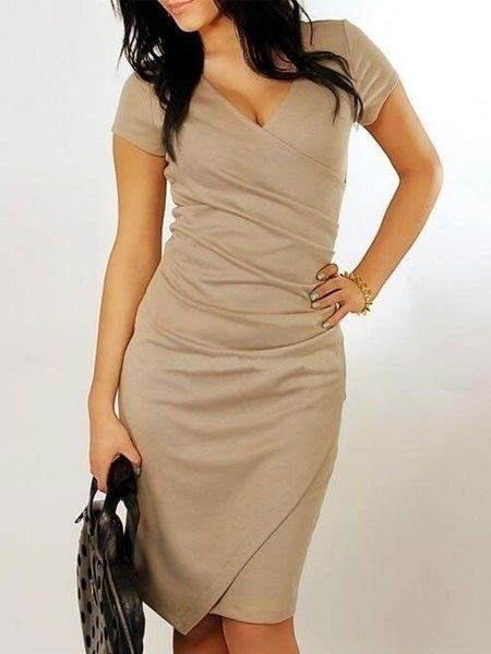 Surplice  Pleated Asymmetrical Hems Plain Bodycon-dress Bodycon Dresses from fashionmia.com
