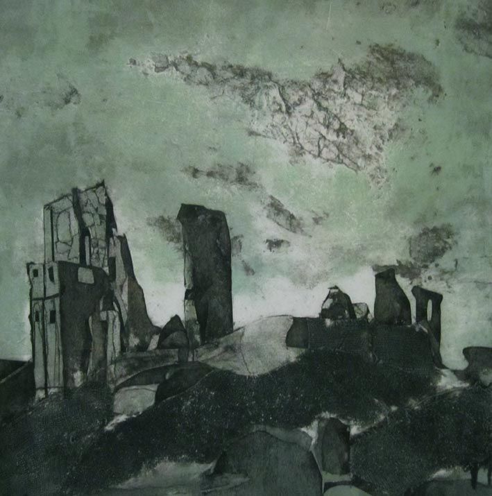 """""""Castle in the Clouds: collagraph, 34cm x 34cm by Sarah Ross-Thompson UK"""