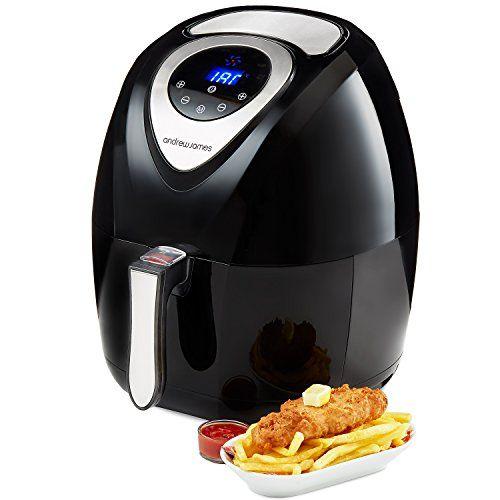 Andrew James Digital Air Fryer in Black, Healthy Oil Free Low Fat Cooking, 3.2L