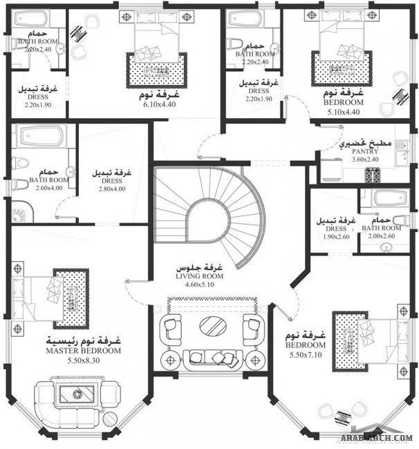 مخطط فيلا من سكن Ma 05 5 غرف نوم أبعاد المسكن 16 40م عرضx19م عمق Family House Plans Square House Plans My House Plans