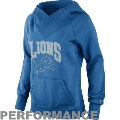 Nike Detroit Lions Ladies Wildcard All-Time Performance Hoodie - Light Blue