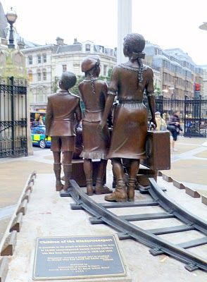 This photograph is from the statue commentating the Suitcase Kindertransport in the aptly named Hope Square outside Liverpool Station in East London.