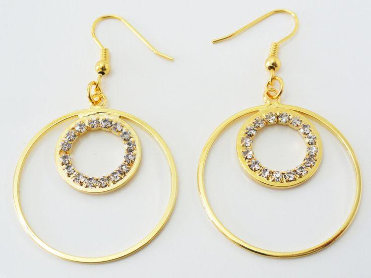 Circle Crystal Earrings, Geometric Earrings, Circle Earrings, Circle Drop Earrings, Circle Dangle Earrings, Crystal Earrings, EMAN38 by PrettyMaNa on Etsy