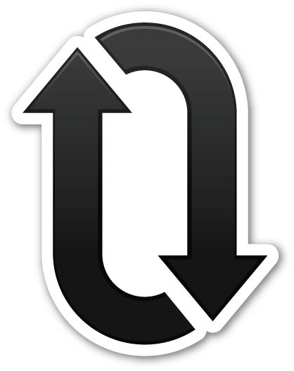 clockwise downwards and upwards open circle arrows