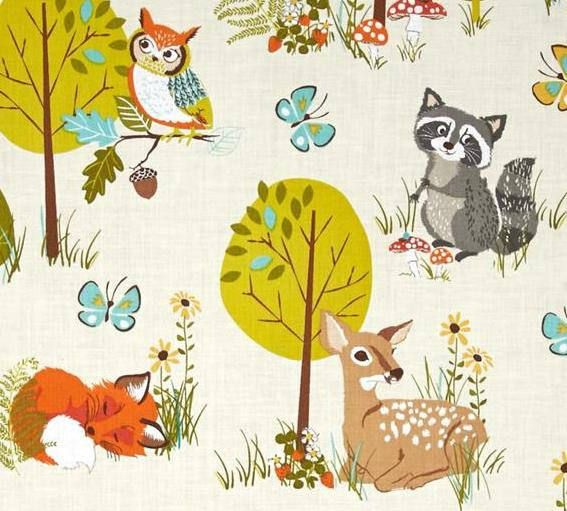 RACCOONS OWLS & BUNNIES PRINT  cream, white, tan, brown, grey, yellow, blue/teal, lime green, forest green, orange and red/orange.  1 (One) VALANCE or PANEL 100% Cotton Valance  SELECT SIZE FROM DROP DOWN MENU AVAILABLE-  Width/Length- Unlined or Lined in solid white cotton 40 X 12 unlined 40 X 14 unlined 40 X 18 unlined 40 X 24 unlined 40 X 32 unlined  40 X 12 lined 40 X 14 lined 40 X 18 lined 40 X 24 lined 40 X 32 lined    1 1/2  Ruffled top STANDARD 1 1/4 inch ...