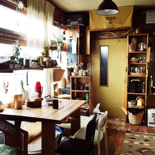 Orieさんの、DIY,小さなお家,朝,食卓テーブルに憧れて,green,部屋全体,のお部屋写真