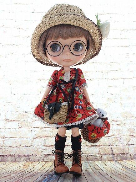 ◆Blythe Outfit◆ブライス♪ヴィンテージワンピ9点set NO55_ブライス本体・眼鏡は付属しません。