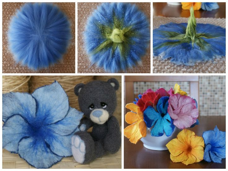 Flowers in the technique wet felting wool The technique of wet felting wool obtained very beautiful flowers, below you will see two pictures of the class