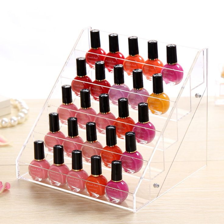 Acrylic Organizer Desktop Nail Polish Organizer Crystal Cosmetic Storage Rack Makeup Display Holder Case