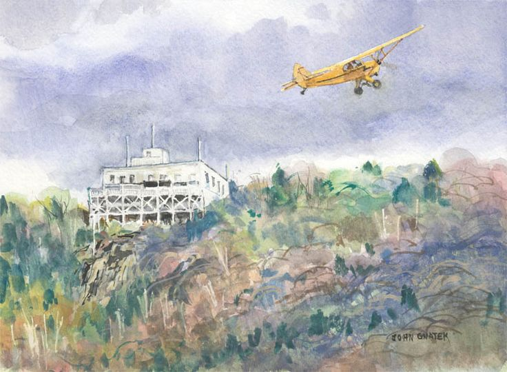 Summit House and Piper J3 Cub. Original watercolor on paper by John Gnatek available at the R. Michelson Galleries