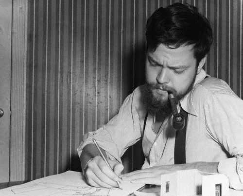Orson Welles, 1940 -- if he's writing, he's reading