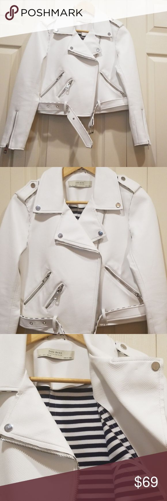 ZARA BASIC White Faux Leather Moto Jacket Faux leather