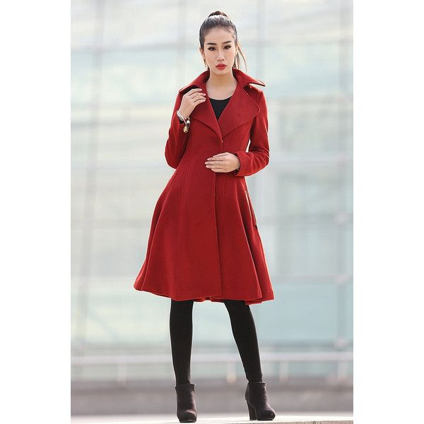Wine Red Swing Coat Classical Style Knee Length With Large Lapel... ($170) ❤ liked on Polyvore featuring grey, outerwear and women's clothing