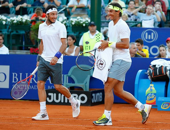 Rafael Nadal and Juan 'Pico' Monaco clinched their first victory at the Argentina Open in the doubles competition. They defeated No. 4 seeds Frantisek Cermak and Jiri Vesely 4-6, 7-5, 10-7. (Photo by Gabriel Rossi/LatinContent/Getty Images)