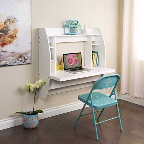 Floating Desk With Storage Office White Student Home Wall Mount Study Furniture