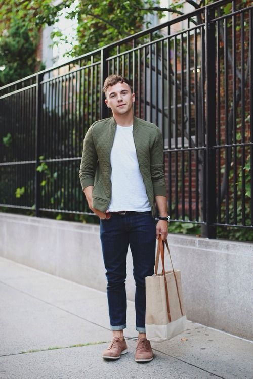 Shop this look on Lookastic: https://lookastic.com/men/looks/bomber-jacket-crew-neck-t-shirt-jeans-brogues-tote-bag/1005 — White Crew-neck T-shirt — Navy Jeans — Tan Suede Brogues — Olive Quilted Bomber Jacket — Beige Canvas Tote Bag