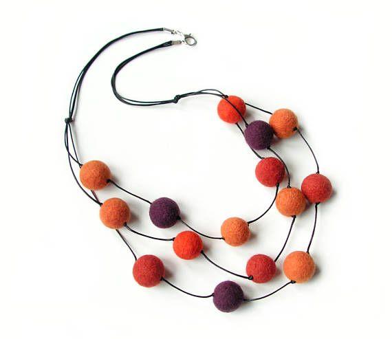 Felted necklace felt necklace felted balls felt balls orange
