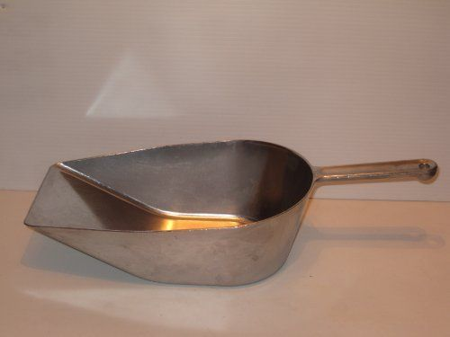 "Flat Bottomed 17"" Aluminum Scoop 16 Cups - 128 Ounce by Westmark. $45.99. Made in Germany. Use in the industrial kitchen for transferring large amounts of sugar, flour or salt.. Flat bottom works well for removing stones in Aquariums and debris from pet cages.. Great for horse feed and animal litter.. The scoop measures 17 inches in Length, 7 1/4"" Wide and 4 3/4 tall at the end of the handle."