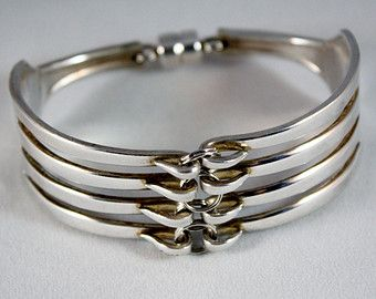 Silver Plated Fork Bracelet - Size -LARGE - Free Shipping in USA - Spoon Jewelry