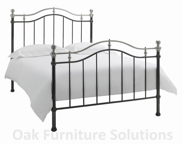 Chloe Black/Shiny Nickel Bedstead - Multiple Metal Bedsteads from Bentley Designs are crafted to exceptional standards and are available from us for delivery within 3 working days. Each bedstead is crafted to exceptional standards with creative  http://www.MightGet.com/march-2017-2/chloe-black-shiny-nickel-bedstead--multiple.asp