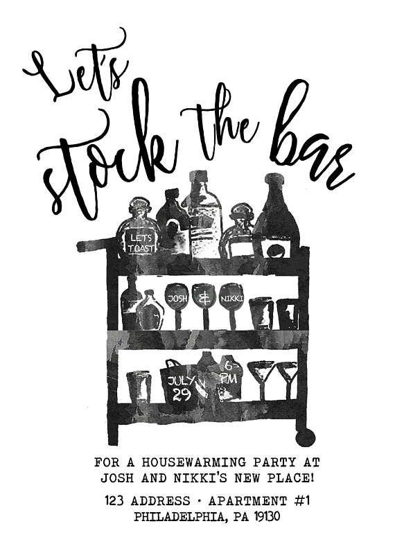 5x7 Stock The Bar Invitation Stock the Bar Party