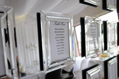 mirror seating plan - individual frames mounted on a larger mirror.