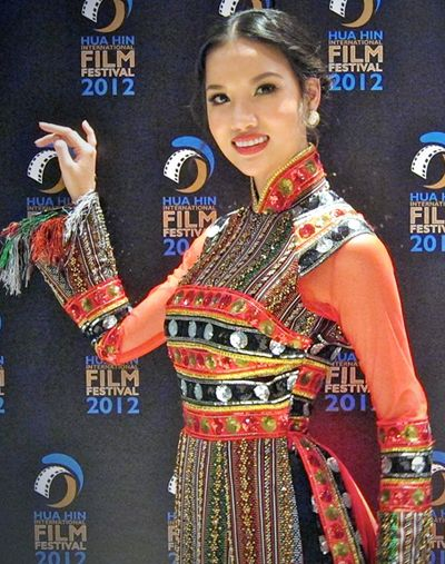 Another folkloric ao Dài...looks Hmong influenced