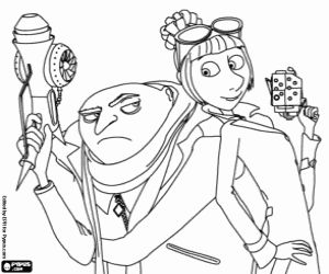 Gru And Lucy Wilde The Anti Villains Agent Coloring Page