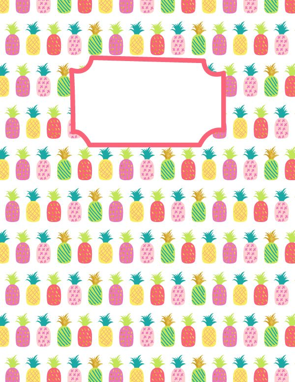 free printable pineapple binder cover template  download
