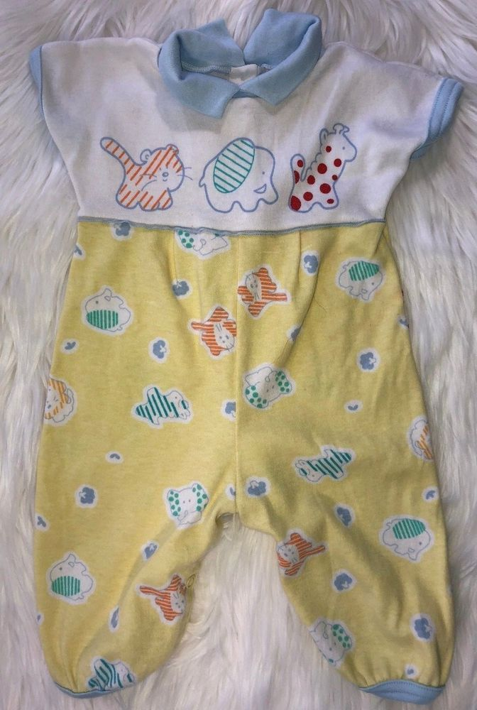 Vintage Carter S Baby Boy 6 Months Yellow And White Animal Print