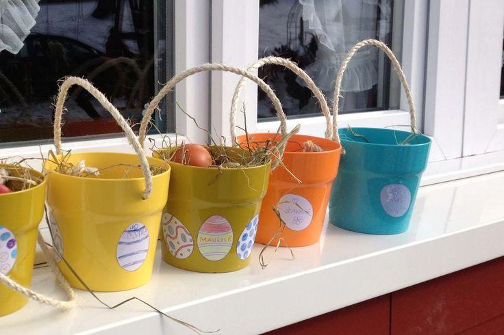 Seit Ostern lagen zwei Plastiktöpfe auf unserem Balkon. Diese Töpfe waren nämlich die Eierkörbchen der grossen Ostereiers...