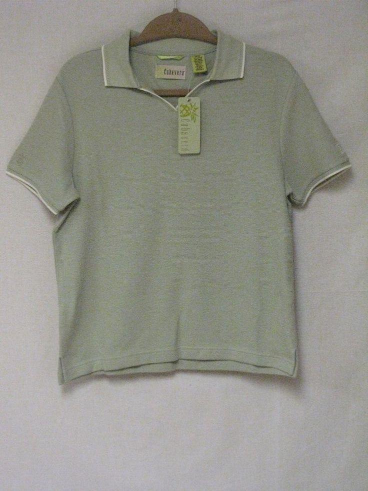 NWT Cubavera Womens Golf Shirt V-neck Soft Green AIG Logo Size Medium  | eBay