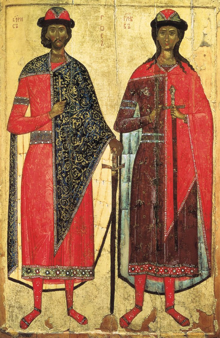 Medieval Russian icon of SS. Boris and Gleb (14th century, State Russian Museum)