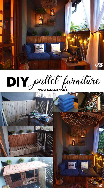 DIY pallet furniture tutorial #diy #pallet #palletfurniture #wood #woodfurniture #balcony #tutorial #palletdesig
