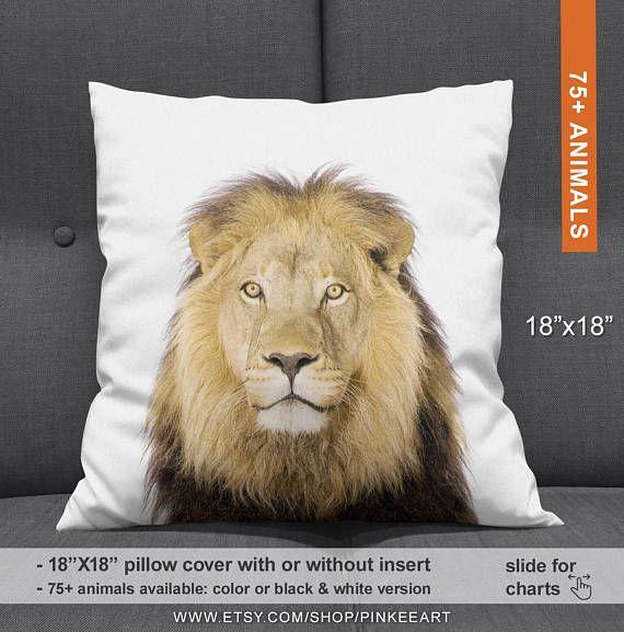 Lion Cushion, Lion Throw Pillow, Safari Home Decor, Lion Home Decor, Lion