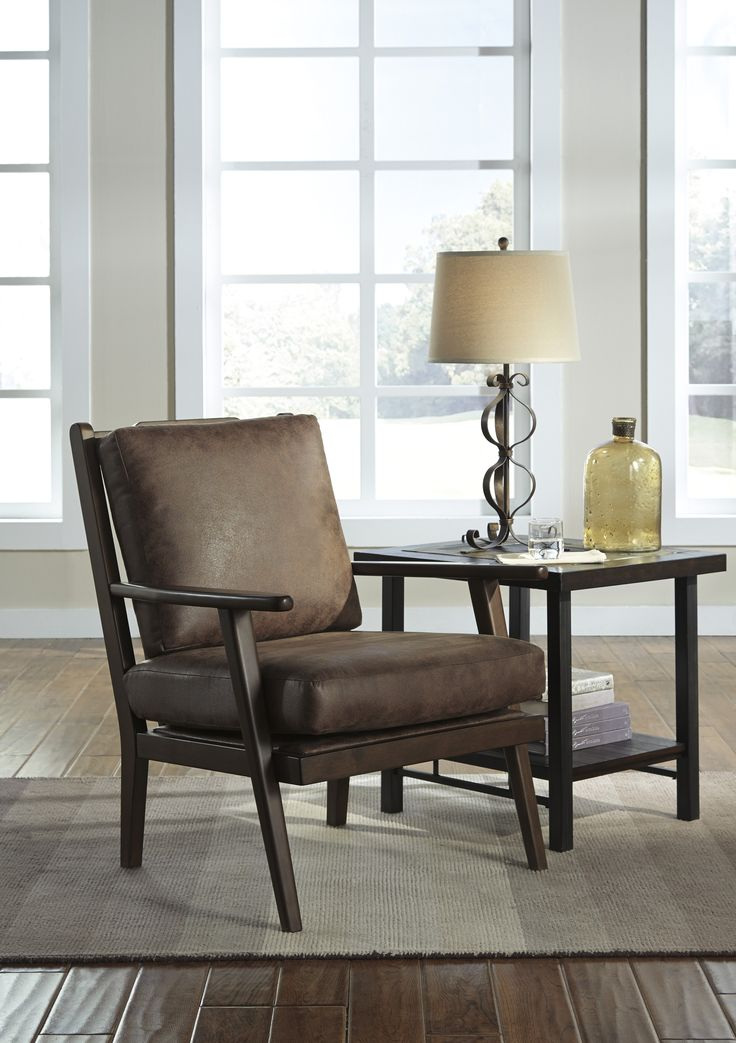 Tanacra Accent Chair with Leather Looking Fabric #accentchair #leatherchair #furniture