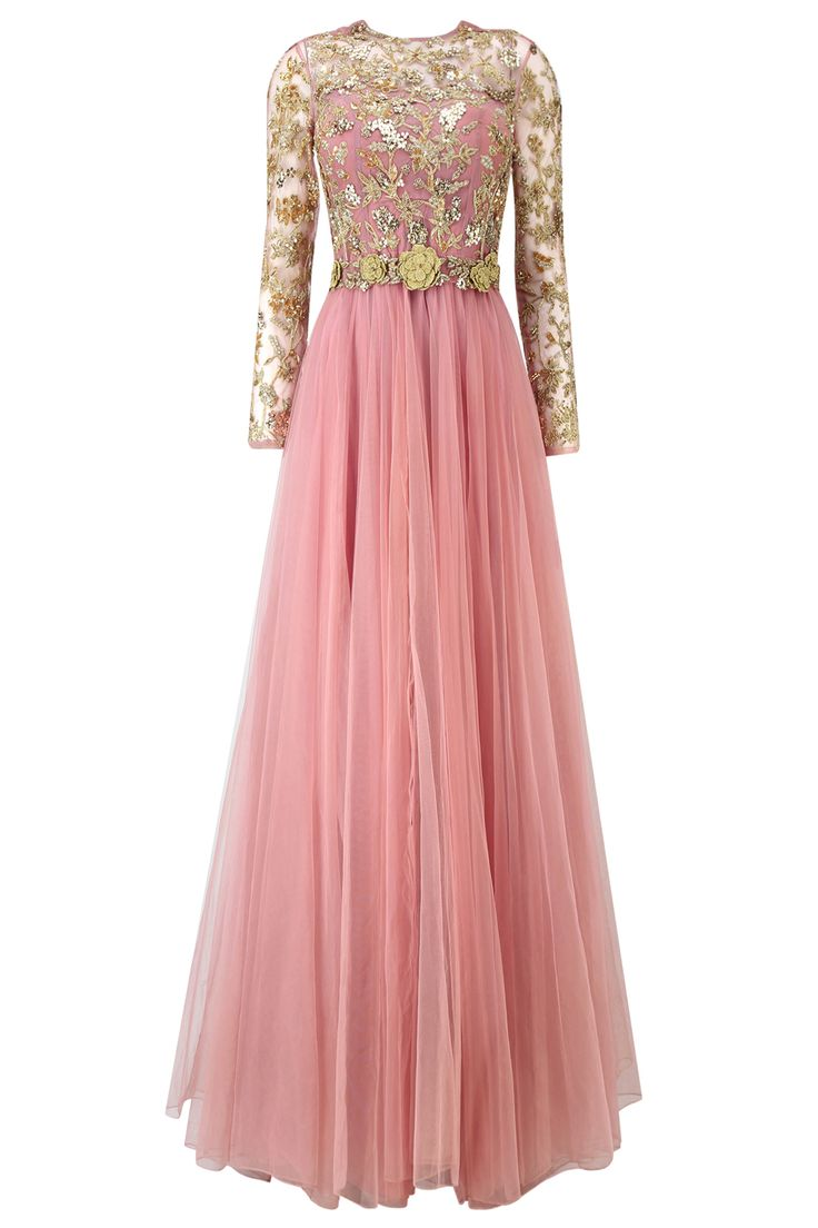Rose pink floral embroidered anarkali gown with waistbelt available only at Pernia's Pop Up Shop.
