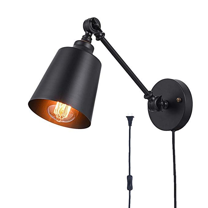 Plug In Wall Light Black Swing Arm Wall Mounted Lamp The Adjustable Wall Light Fixture Is Metal Wall Mount Light Fixture Plug In Wall Lamp Wall Mounted Light Swing arm light fixtures