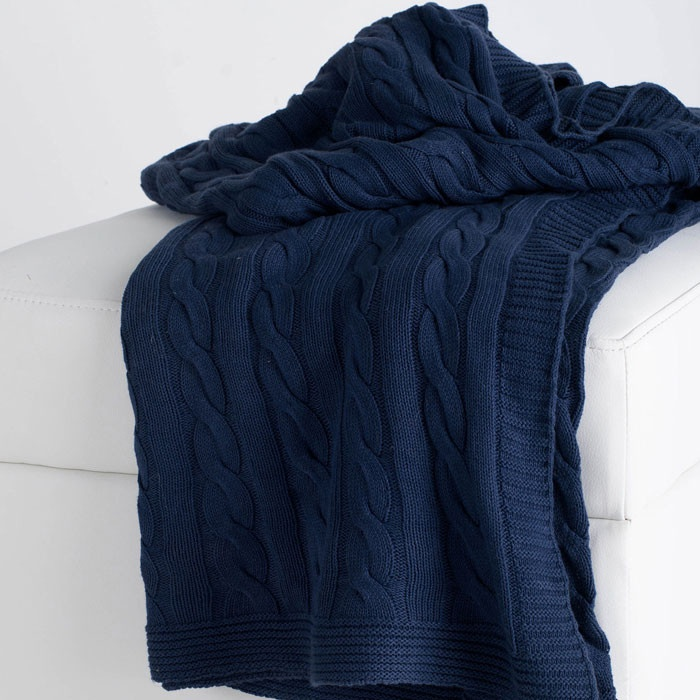 Nora Cable Knit Throw In Navy Nursery For The Home