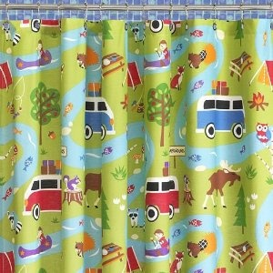 Olive Kids Camping Trip Cotton Blend Shower Curtain, 72/72 Inch, Multi