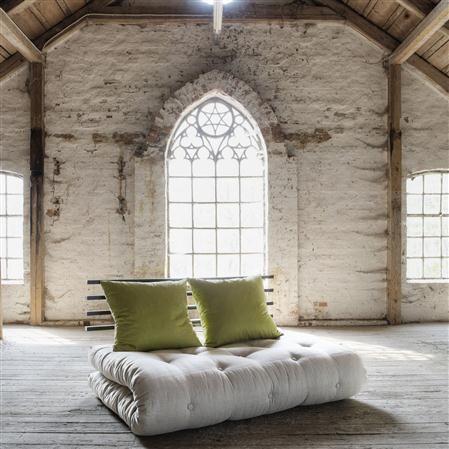 Sofá-cama Shin Sano beige y verde pistacho con estructura color negro, 140 x 200 cm