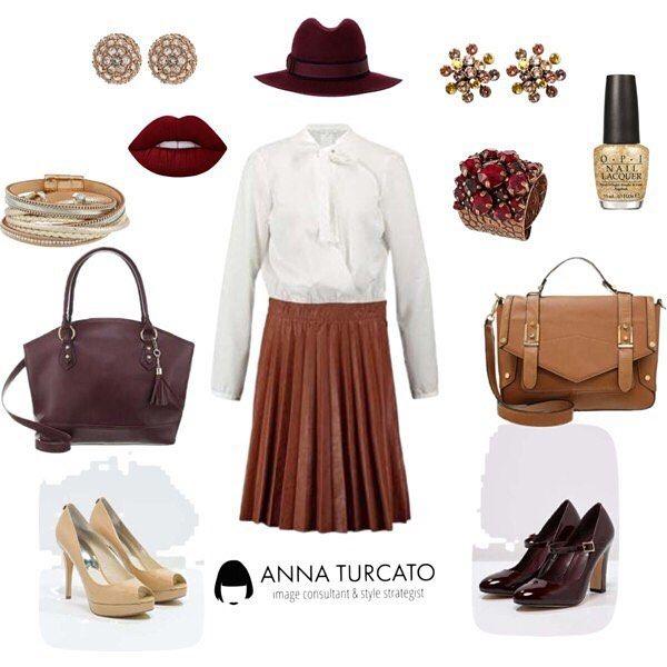 #Autumn #Look for a #glamour #lady.  Ecco #unlookalgiorno che ti racconta le tendenze del prossimo #autunno #autunnoinverno. Osa la gonna in pelle, sceglila a pieghe e abbinala ad una semplice camicia bianca con il fiocco. E completa l' #outfit con alcuni dettagli #bordeaux come il cappello a larga tesa. Trucco in tinta e sarai sensuale e raffinata. Ideale per te che ami essere sul pezzo ma ti piace sempre interpretare la moda con la tua personalità e il tuo #stile. #personalstyle #style…