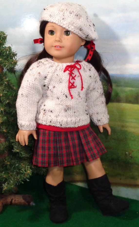 Tartan Plaid Pleated Skirt and Tee with Sweater and Hat by SugarloafDollClothes on Etsy  $45.00