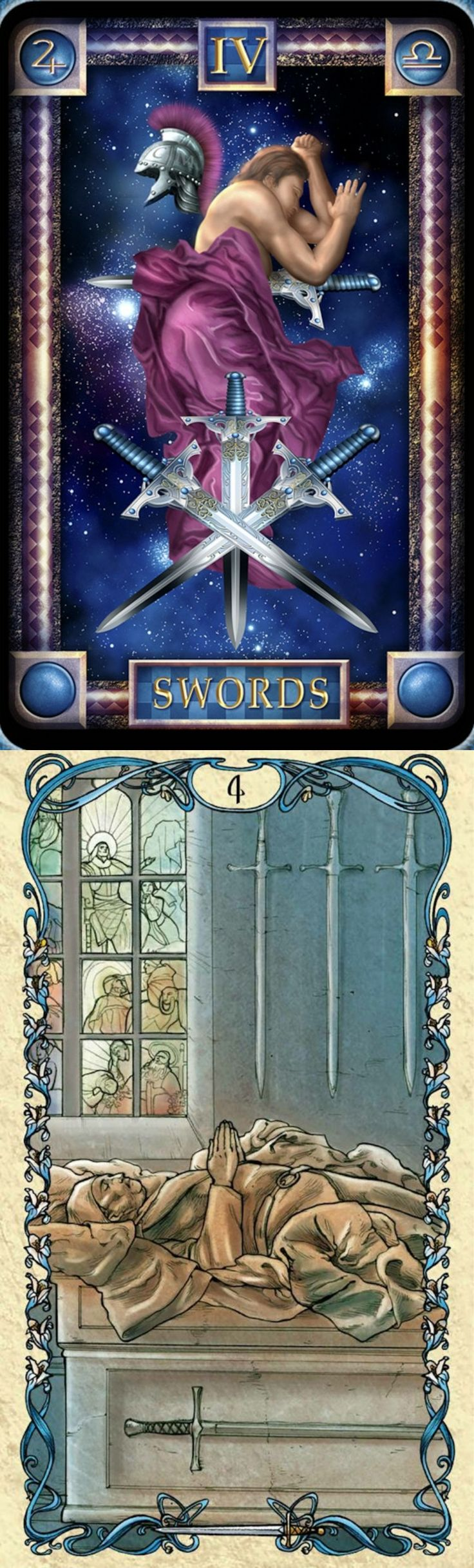 Four of Swords: pause to look within and pushing too hard without taking a pause to reflect; burning out (reverse). Dreams Tarot deck and Mucha Tarot deck: free tarot card prediction, free physic reading and tarotjournaling. The best cartomancy and tarot decks. #hangedman #minorarcana #tarotdecks #justice #tarotapp