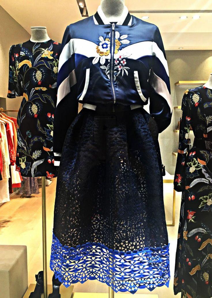 Maje sporty style - bomber jacket with lace skirt