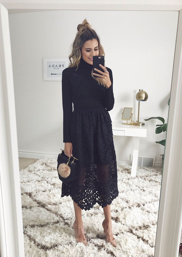 New Video: 7 Fresh Ways to Wear A Turtleneck | Hello Fashion. Black turtleneck sweater+black lace midi dress+nude pumps+black handbag. Winter Dressy Casual Outfit 2017