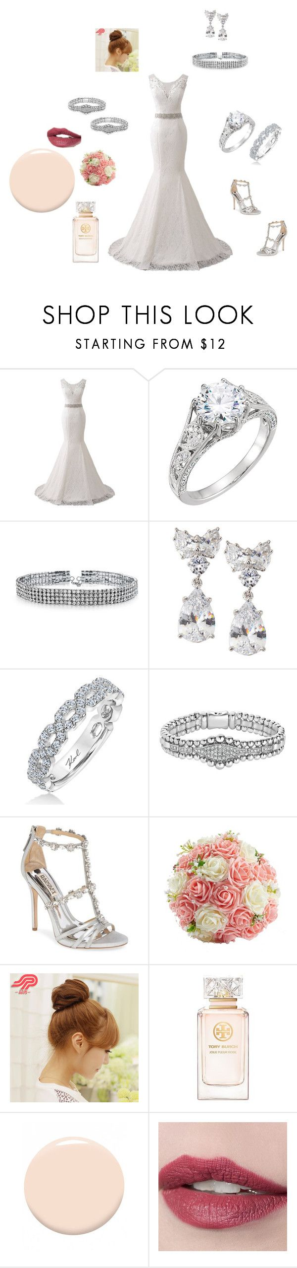 """""""going to the chapel wedding"""" by cassandra-beauchamp on Polyvore featuring Bling Jewelry, Fantasia by DeSerio, Karl Lagerfeld, Lagos, Badgley Mischka, Pin Show, Tory Burch and Christian Dior"""