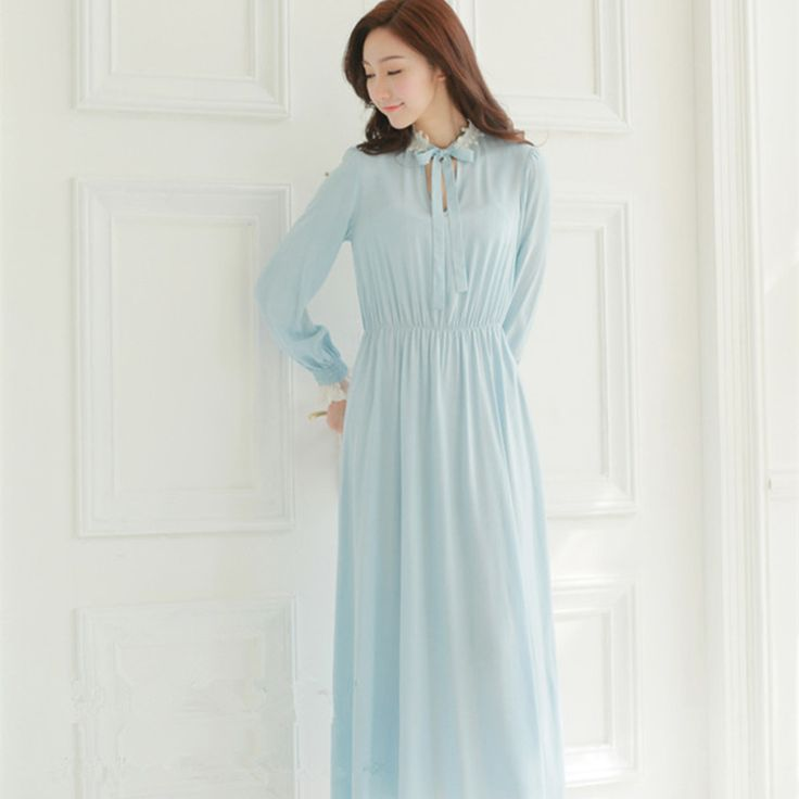 Free Shipping Long nightdress Women's Long nightgown Classical Vintage Princess nightdress White and Blue Nightshirt Sleepwear -- Details can be found by clicking on the image.